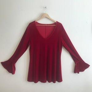 Vintage 1960s red velvet mini babydoll dress
